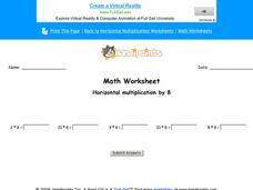 Multiply By Eight Worksheet