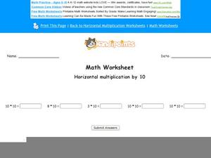 Multiply By Ten Worksheet