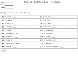 Multiply Decimals Worksheet Worksheet