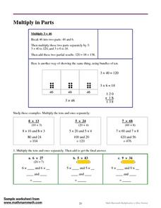 Multiply in Parts Worksheet