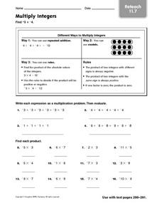 Multiply Integers: Reteach Worksheet