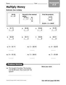 Multiply Money Homework 21.8 Worksheet