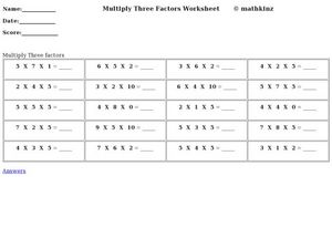 Multiply Three Factors Worksheet