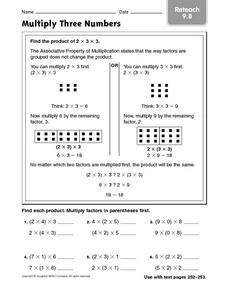 Multiply Three Numbers: Reteach 9.8 Worksheet