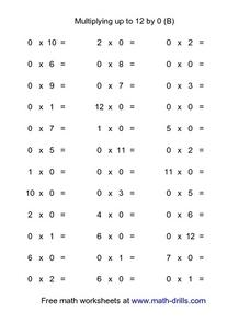Multiply Up To 12 By 0 (B) Worksheet