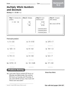 Multiply Whole Numbers and Decimals: Homework Worksheet