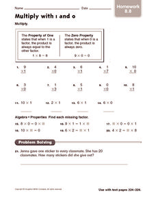 Multiply with 1 and 0: Homework Worksheet
