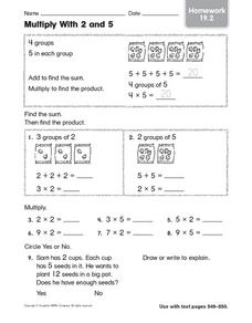 Multiply With 2 and 5: Homework Worksheet