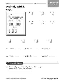 Multiply With 6: Homework Worksheet