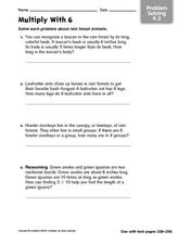 Multiply with 6 - Problem Solving 9.3 Worksheet