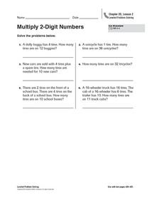 Multiplying 2-Digit Numbers Worksheet