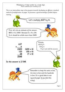 Multiplying a 3-Digit Number By a Single Digit Worksheet