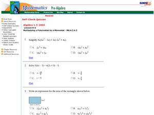 Multiplying a Polynomial by a Monomial Worksheet