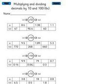 Multiplying and Dividing Decimals by 10 and 100 Worksheet