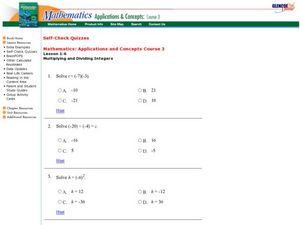 Multiplying and Dividing Integers Worksheet