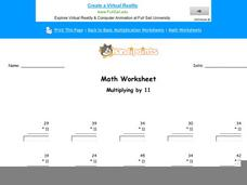 Multiplying by 11: Part 3 Worksheet