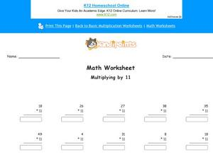 Multiplying by 11: Part 9 Worksheet