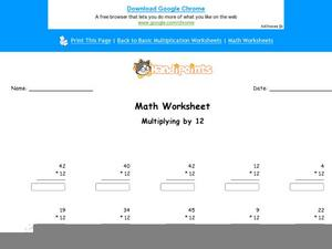 Multiplying By 12 Worksheet