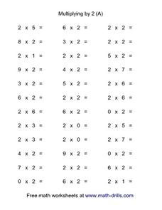 Multiplying By 2 (a) Worksheet