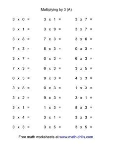 Multiplying By 3 (A) Worksheet