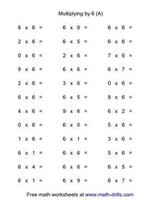 Multiplying by 6 (A) Worksheet