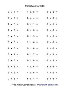 Multiplying by 6 (B) Worksheet