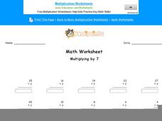 Multiplying by 7: Part 2 Worksheet