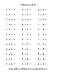 Multiplying by 8 (B) Worksheet