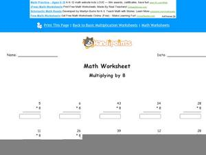 Multiplying by 8 Worksheet