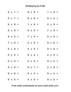 Multiplying by 9 (B) Worksheet