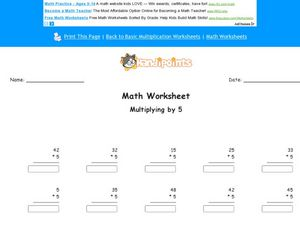 Multiplying by Five Worksheet