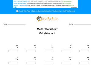 Multiplying By Four Worksheet