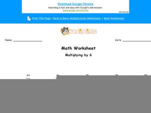 Multiplying by Six Part 2 Worksheet