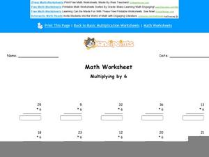 Multiplying by Six Worksheet