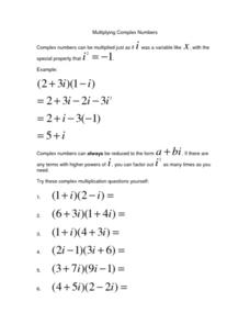 Worksheet Complex Numbers Worksheet multiplying complex numbers 10th 11th grade worksheet lesson worksheet