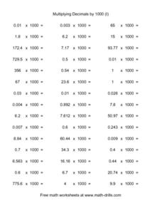 Multiplying Decimals by 1000 (I) Worksheet
