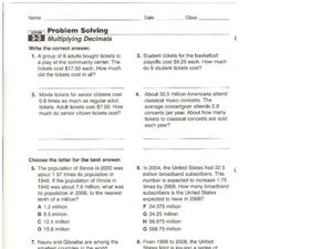 Multiplying Decimals Word Problems Worksheet