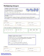 Multiplying Integers Worksheet