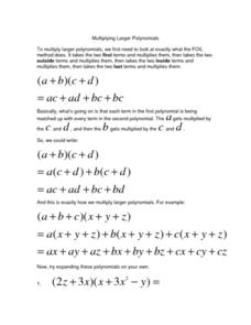 Multiplying Larger Polynomials Worksheet