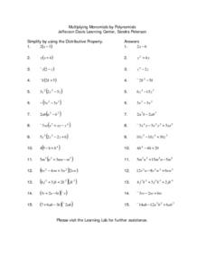 Multiplying Monomials by Polynomials Lesson Plan