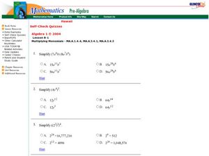 Multiplying Monomials Worksheet