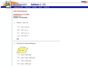 Multiplying Polynomials Worksheet