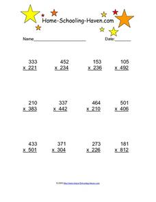 Multiplying Three Digits by Three Digits Worksheet
