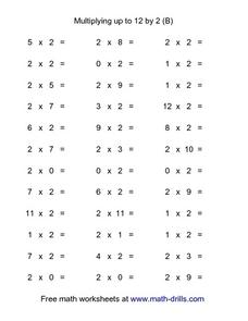 Multiplying Up To 12 By 2 (B) Worksheet