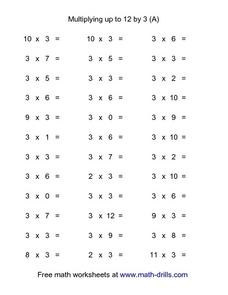 Multiplying Up To 12 By 3 (a) Worksheet