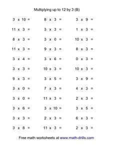 Multiplying up to 12 by 3 (B) Worksheet