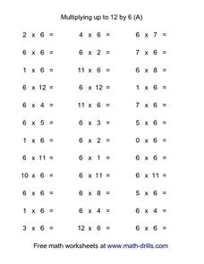 Multiplying Up to 12 by 6 (A) Worksheet