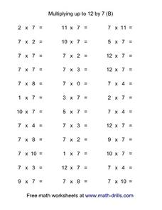 Multiplying up to 12 by 7 (B) Worksheet