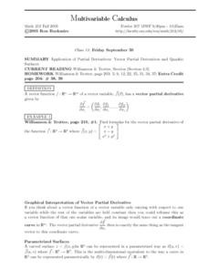 Multivariable Calculus:  Application of Partial Derivatives Worksheet