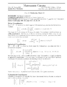 Multivariable Calculus:  Curvilinear Coordinates Worksheet